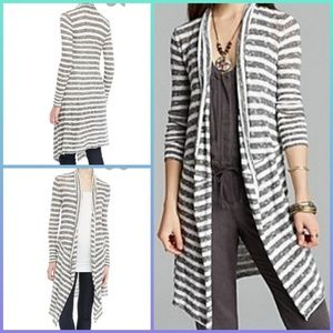 Free People Forget Me Not, Long, Striped Cardigan